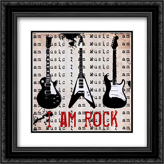 I Am Rock 2x Matted 16x16 Black or Gold Ornate Framed Art Print by Louise Carey