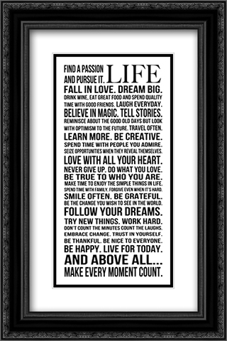 This is Your Life 2x Matted 12x22 Black or Gold Ornate Framed Art Print by Louise Carey