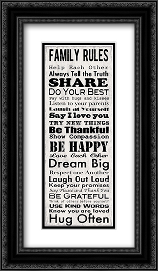 Family Rules Panel 2x Matted 10x22 Black or Gold Ornate Framed Art Print by Louise Carey