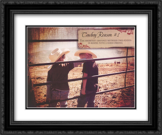 Cowboy Reason 1 2x Matted 20x16 Black or Gold Ornate Framed Art Print by Shawnda Eva