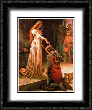 Accolade 2x Matted 20x24 Black or Gold Ornate Framed Art Print by Edmund Blair Leighton