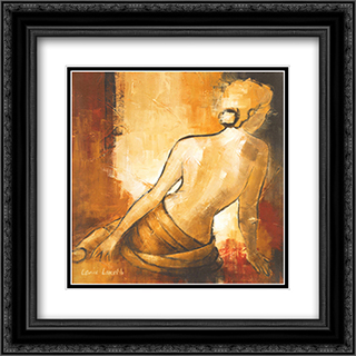 Seated Woman I 2x Matted 16x16 Black or Gold Ornate Framed Art Print by Lanie Loreth