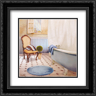 Sundance Bath I 2x Matted 16x16 Black or Gold Ornate Framed Art Print by Elizabeth Medley