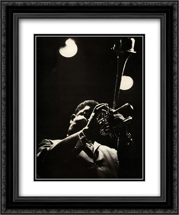 Dizzy Gillespie 2x Matted 20x24 Black or Gold Ornate Framed Art Print by Lee Tanner