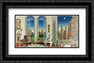 Manhattan Fantasy 2x Matted 22x15 Black or Gold Ornate Framed Art Print by Thomas McKnight