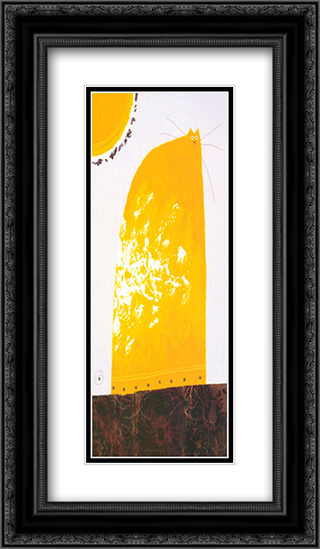 Yellow Cat 2x Matted 13x24 Black or Gold Ornate Framed Art Print by Govinder Nazran