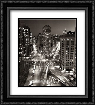 Flatiron Building At Night 2x Matted 20x24 Black or Gold Ornate Framed Art Print by Henri Silberman
