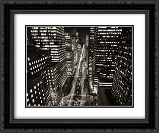Park Avenue At Night, New York City 2x Matted 20x24 Black or Gold Ornate Framed Art Print by Henri Silberman