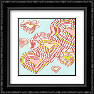 Hearts in Dreamland 2x Matted 16x16 Black or Gold Ornate Framed Art Print by Peter Horjus