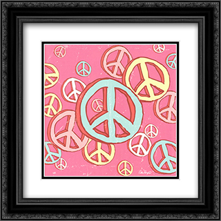 Peace Baby 2x Matted 16x16 Black or Gold Ornate Framed Art Print by Peter Horjus