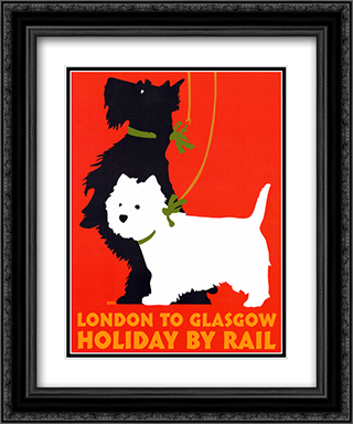 Holiday by Rail 2x Matted 20x24 Black or Gold Ornate Framed Art Print by Johanna Kriesel