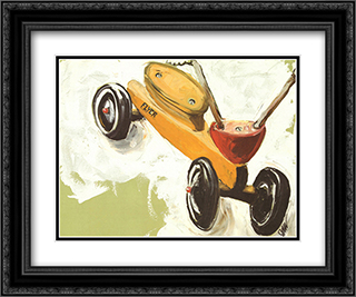 Little Yellow Scooter 2x Matted 24x20 Black or Gold Ornate Framed Art Print by Julia Gilmore