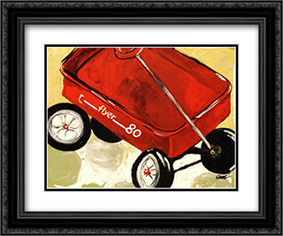 Little Red Wagon 2x Matted 24x20 Black or Gold Ornate Framed Art Print by Julia Gilmore