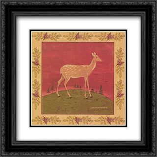 Folk Fawn 2x Matted 18x18 Black or Gold Ornate Framed Art Print by Warren Kimble