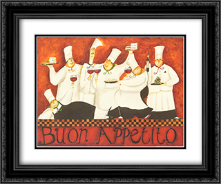 Buon Appetito 2x Matted 24x20 Black or Gold Ornate Framed Art Print by Jennifer Garant