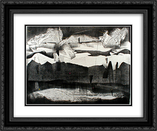 Rain on the Mesa - New Mexico 24x20 Black or Gold Ornate Framed and Double Matted Art Print by Adja Yunkers