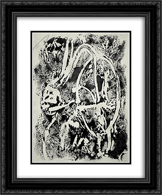 Untitled 20x24 Black or Gold Ornate Framed and Double Matted Art Print by Adja Yunkers