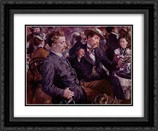 At the beer garden 24x20 Black or Gold Ornate Framed and Double Matted Art Print by Adolph Menzel