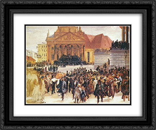 Aufbahrung der Marzgefallenen 24x20 Black or Gold Ornate Framed and Double Matted Art Print by Adolph Menzel