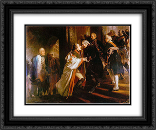Begegngung mit Kaiser Joseph II in Neisse 24x20 Black or Gold Ornate Framed and Double Matted Art Print by Adolph Menzel