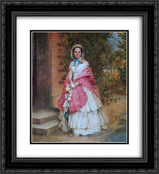 Clara Schmidt von Knobelsdorff ready to go out 20x22 Black or Gold Ornate Framed and Double Matted Art Print by Adolph Menzel