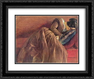Emilie Menzel Asleep 24x20 Black or Gold Ornate Framed and Double Matted Art Print by Adolph Menzel