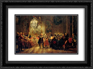 Flute Concert with Frederick the Great in Sanssouci 24x18 Black or Gold Ornate Framed and Double Matted Art Print by Adolph Menzel