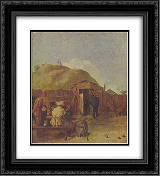 Drinkers in the yard 20x22 Black or Gold Ornate Framed and Double Matted Art Print by Adriaen Brouwer