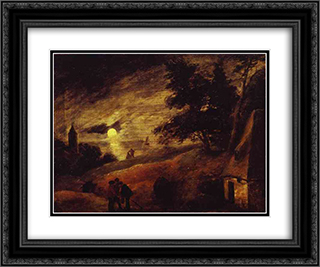 Dune Landscape by Moonlight 24x20 Black or Gold Ornate Framed and Double Matted Art Print by Adriaen Brouwer