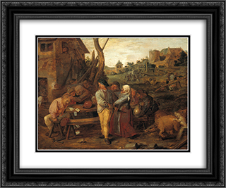 Farmers Fight Party 24x20 Black or Gold Ornate Framed and Double Matted Art Print by Adriaen Brouwer