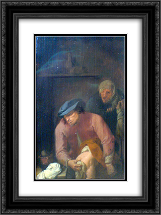 Father's of unpleasant duties 18x24 Black or Gold Ornate Framed and Double Matted Art Print by Adriaen Brouwer