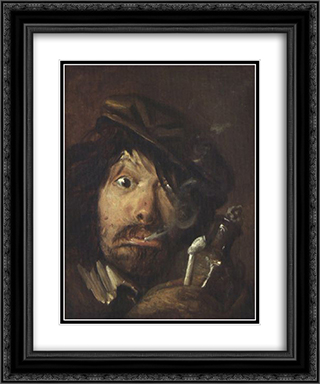 Fumatore 20x24 Black or Gold Ornate Framed and Double Matted Art Print by Adriaen Brouwer