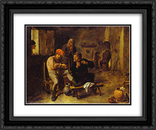 In the Tavern 24x20 Black or Gold Ornate Framed and Double Matted Art Print by Adriaen Brouwer