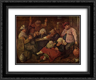 Inn with drunken peasants 24x20 Black or Gold Ornate Framed and Double Matted Art Print by Adriaen Brouwer