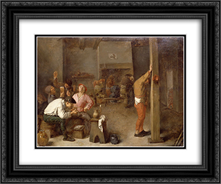 Interior of a Tavern 24x20 Black or Gold Ornate Framed and Double Matted Art Print by Adriaen Brouwer