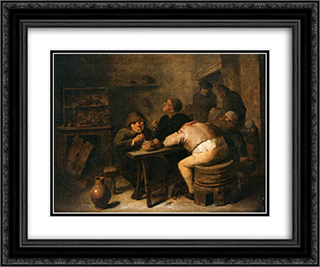 Interior with Smokers 24x20 Black or Gold Ornate Framed and Double Matted Art Print by Adriaen Brouwer