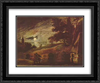 Moonlit landscape 24x20 Black or Gold Ornate Framed and Double Matted Art Print by Adriaen Brouwer