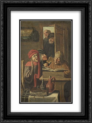 Musical company 18x24 Black or Gold Ornate Framed and Double Matted Art Print by Adriaen Brouwer