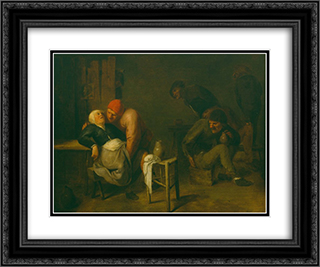 Peasant Inn 24x20 Black or Gold Ornate Framed and Double Matted Art Print by Adriaen Brouwer
