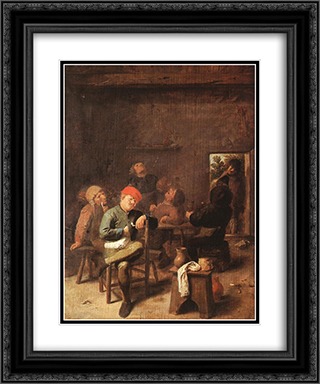 Peasants Smoking And Drinking 20x24 Black or Gold Ornate Framed and Double Matted Art Print by Adriaen Brouwer