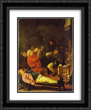 Scene at the Inn 20x24 Black or Gold Ornate Framed and Double Matted Art Print by Adriaen Brouwer