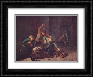 Smallholders Playing Cards 24x20 Black or Gold Ornate Framed and Double Matted Art Print by Adriaen Brouwer