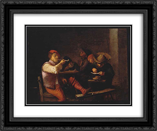 Smokers in an Inn 24x20 Black or Gold Ornate Framed and Double Matted Art Print by Adriaen Brouwer