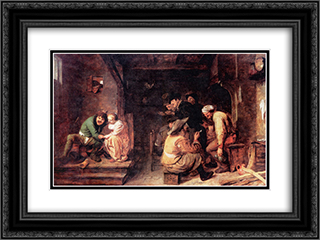Tavern Scene 24x18 Black or Gold Ornate Framed and Double Matted Art Print by Adriaen Brouwer