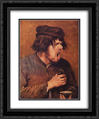 The Bitter Drunk 20x24 Black or Gold Ornate Framed and Double Matted Art Print by Adriaen Brouwer