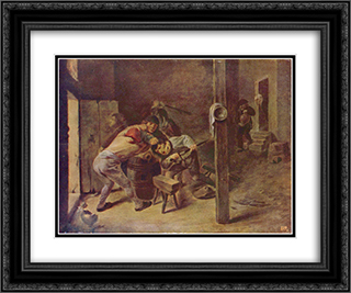 The brawl 24x20 Black or Gold Ornate Framed and Double Matted Art Print by Adriaen Brouwer