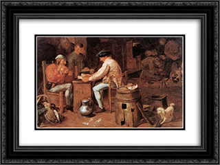 The Card Players 24x18 Black or Gold Ornate Framed and Double Matted Art Print by Adriaen Brouwer