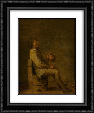 The Drinker 20x24 Black or Gold Ornate Framed and Double Matted Art Print by Adriaen Brouwer