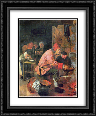 The Pancake Baker 20x24 Black or Gold Ornate Framed and Double Matted Art Print by Adriaen Brouwer