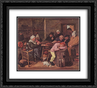 The Schlachtfest 22x20 Black or Gold Ornate Framed and Double Matted Art Print by Adriaen Brouwer